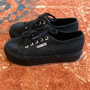 Superga Black Platforms Size 37 1/2